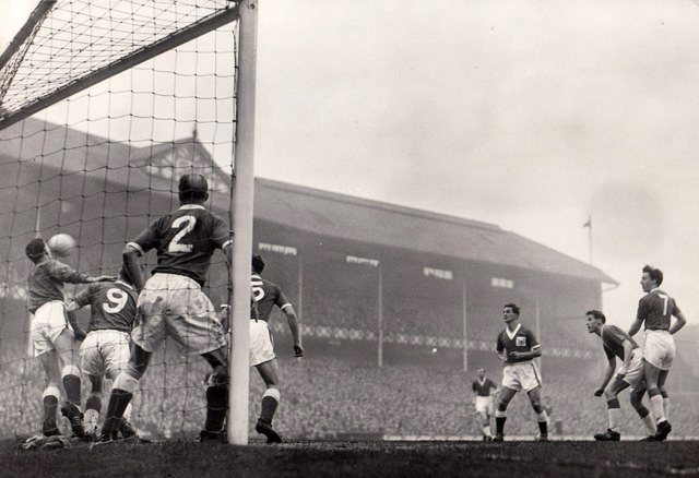 Everton vs Nottingham Forest, December 1957, with 1909 Goodison Road stand as backdrop