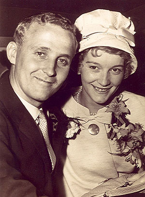 Alec and Nancy Young on their wedding day