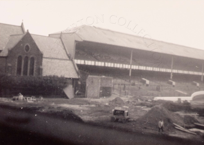 Gwladys Street Stand circa 1969 during construction of new Main Stand (copyright Everton Collection)