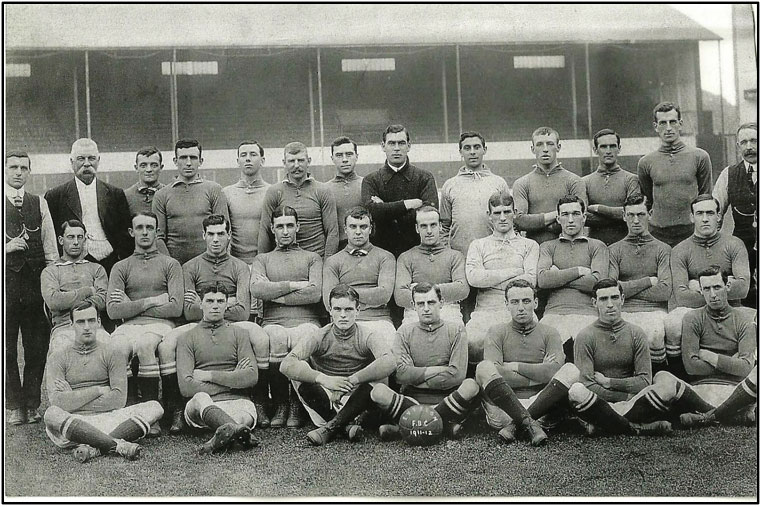 James Gourley, third from right centre row, with the Everton team