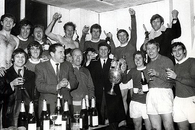 The newly crowned First Division Champions celebrating on Wednesday, 1 April 1970