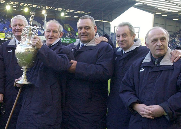 The reunion of Labone, Brown, West, Husband, Whittle at Goodison in 2001
