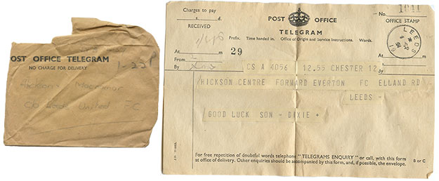 Dave Hickson debut telegram from Dixie Dean