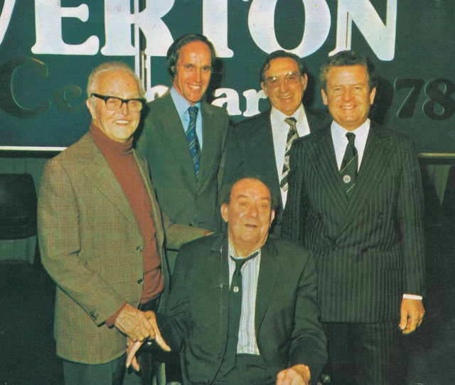 John Moores, Gordon Lee, Dixie Dean, Harry Catterick and Philip Carter at a 1978 event