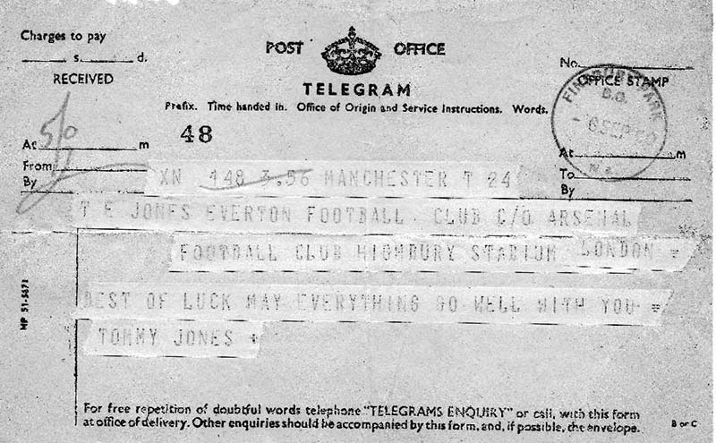 Telegram from TG Jones to TE Jones on his debut