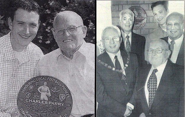 Paul Lloyd with Fred Parry and Charlie Parry plaque, 2003