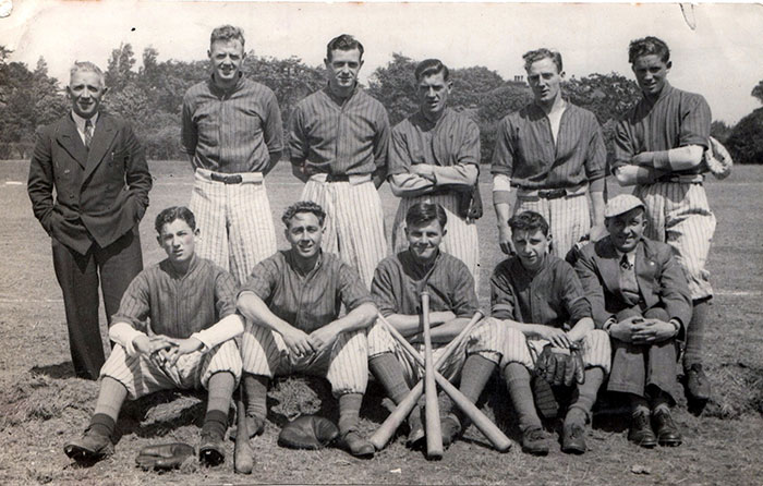 Everton Baseball team circa 1945, featuring Gordon Watson of Everton FC and Theo Kelly as trainer