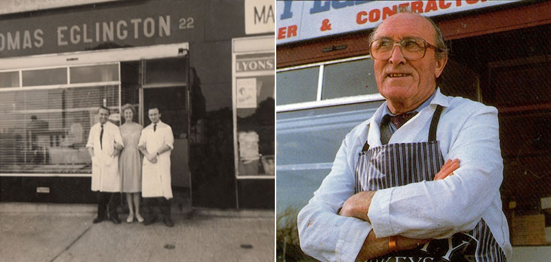 Tommy Eglington at his butcher's shop in Clontarf