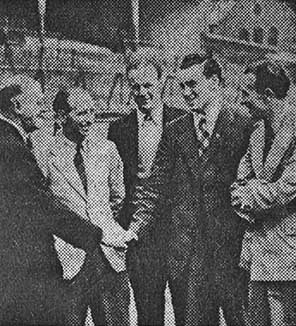 Eglington and Farrell are welcomed to Goodison Park by Theo Kelly, Alex Stevenson and Norman Greenhalgh