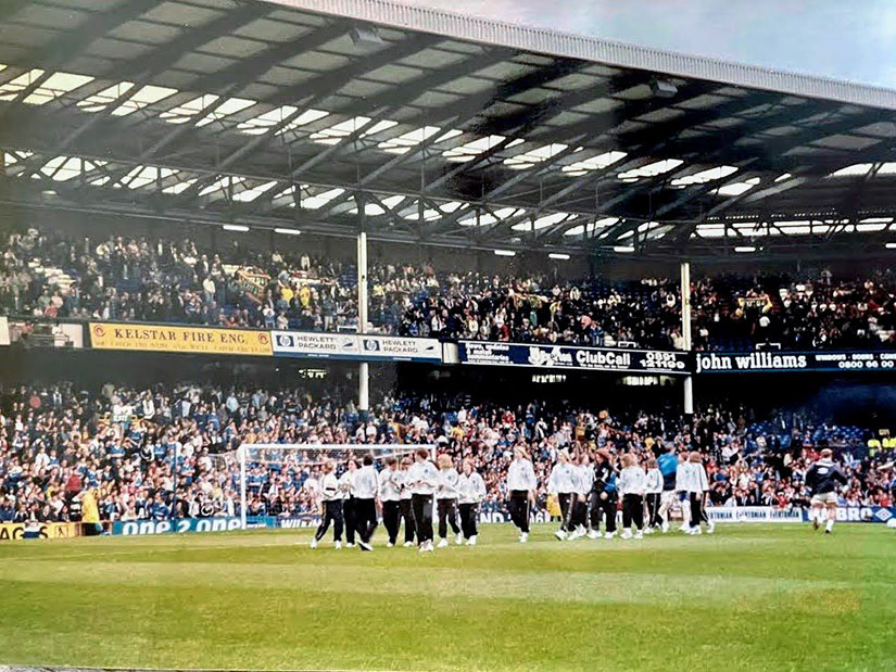 Everton Ladies parade the League trophy at Goodison before a men's match in 1998