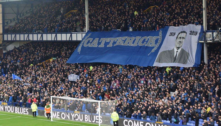 The banner unfurled in the Street End to mark the 100th anniversary of Catterick's birth