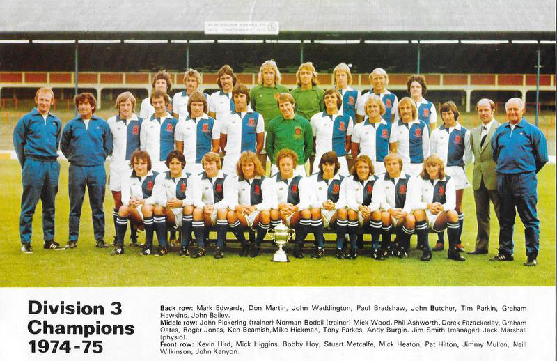 The Blackburn Rovers promotion-winning team with Mick Heaton in 1975