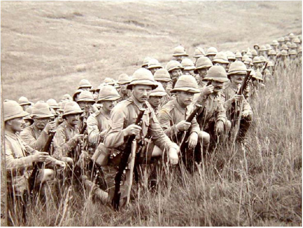 Lancashire Fusiliers of the 42nd Division waiting to go into attack at Gallipoli
