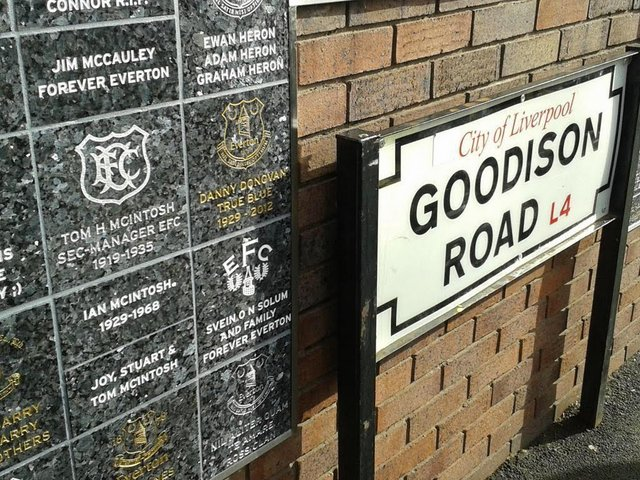 Plaques on the Goodison Wall