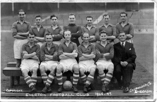 Norman Greenhalgh captains Everton in 1946