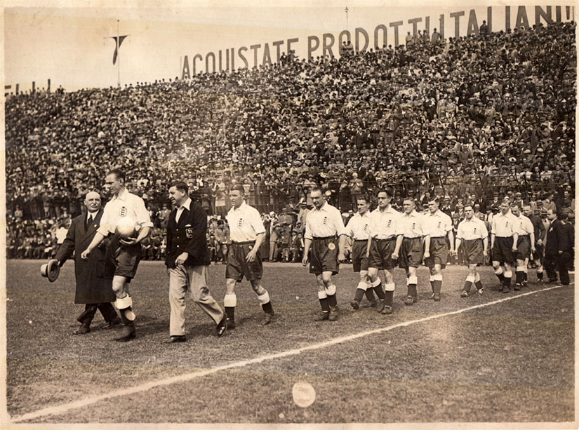 Tommy with the England team coming out for the match v Italy in 1933