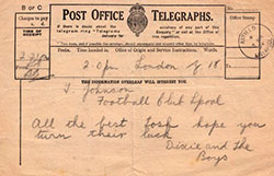 Telegram from Dixie Dean to Tommy Johnson