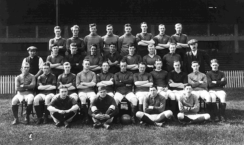 Liverpool FC team in 1911 in front of the Kop