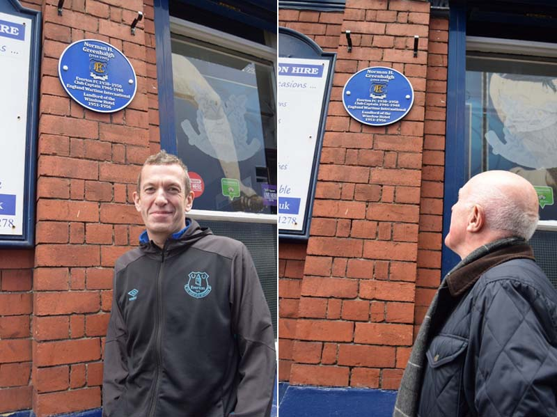 Dave Bond; the son of Norman Greenhalgh looks up at the plaque